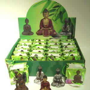 Boeddha in tasje kleur 5 cm .