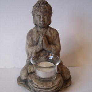 Boeddha zit grijs met wax. houder 13x12x19cm