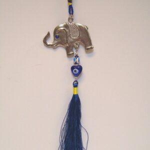 decohanger olifant - blauwe boze oog 25 cm