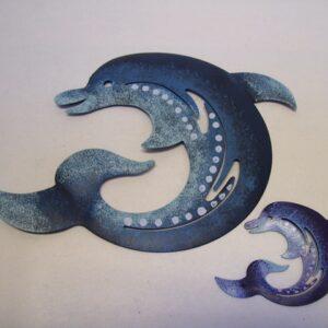 Dolfijn metaal deco 8,5 cm AANBIEDING