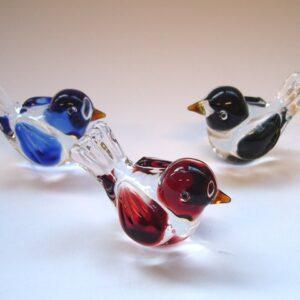 Glas vogeltje mini mus 5x3x3 cm