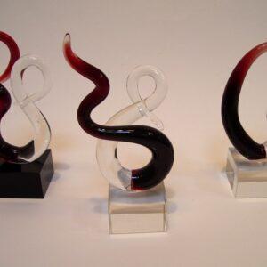 Glassculptuur Adagio 15cm  3 ass.