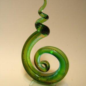 Glassculptuur Curl 31x16cm groen/brons