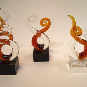 Glassculptuur Legato 15cm  3 ass.
