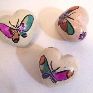 Hart speksteen vlinder  ass. 6 cm    .