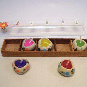 Mini kaarsjes hartjes (set van 5)