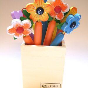 Pen bloem kleur ass. met tekst