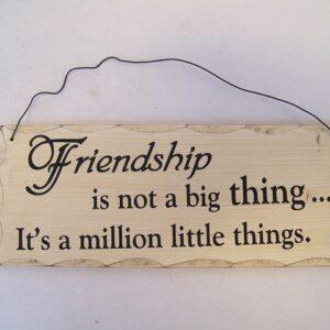 Tekstbord hout - Friendship is ... 10x25x0.8 cm