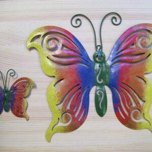 vlinder geel/rood/blauw 26 cm metaal
