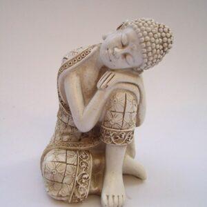Boeddha wit / rustend 6x6x9cm