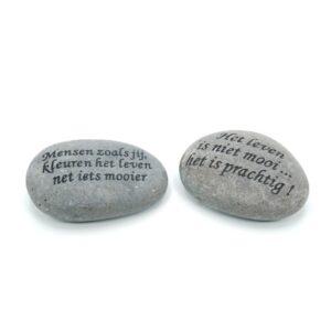 Tekststenen  12-14 cm grijs