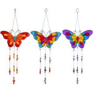 Vlinder kleurrijke suncatcher ass. 12x15cm