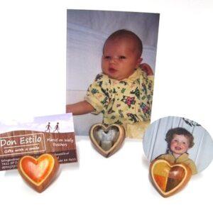 Wooden heart memo/foto 5cm